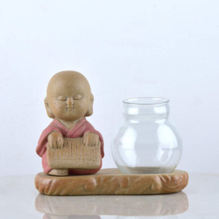 Pot with sitting monk pink – pic 1