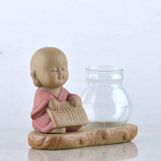 Pot with sitting monk pink – pic 2