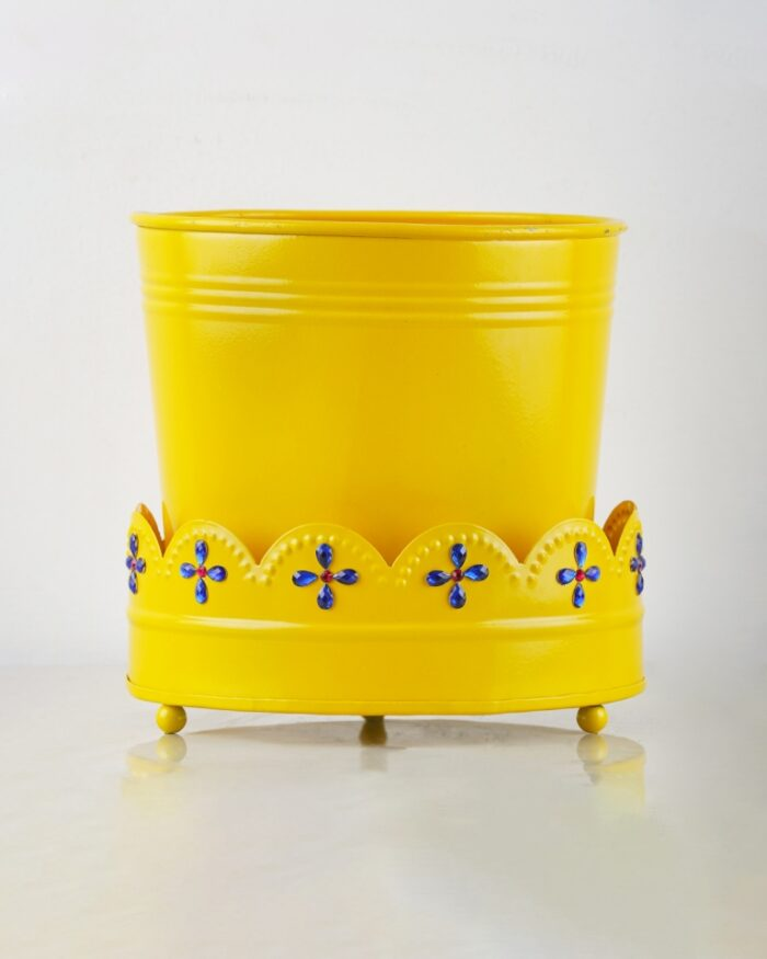 Yellow embellished pots for sale, Unlimited Greens